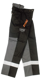 Protective trousers for brushcutter use