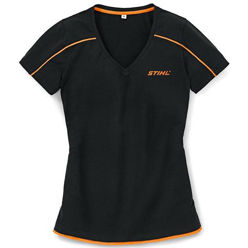 Дамска тениска с остро деколте, черна