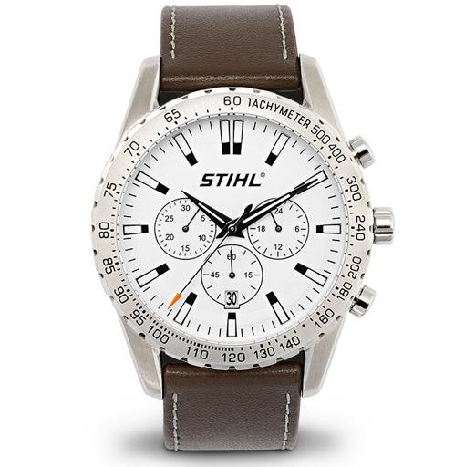Часовник хронограф, с кафява кожена каишка