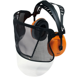 Face / ear protection with nylon mesh visor