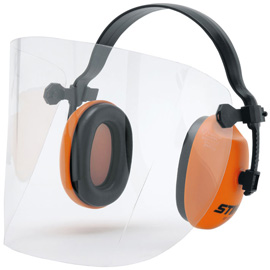 Short face/ear protection with plastic visor