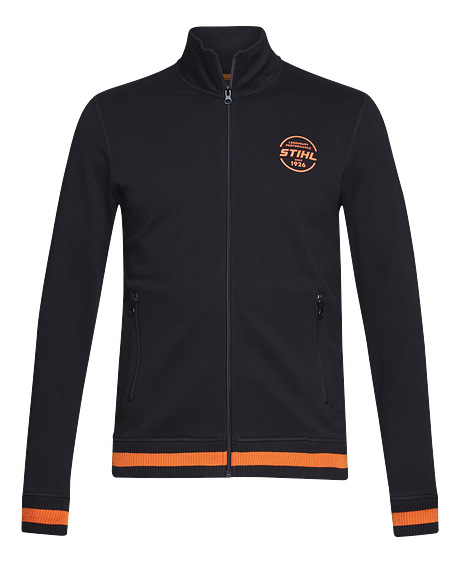 Zip-up jacket with circular logo