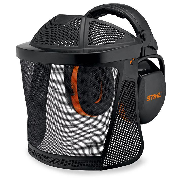 Ensemble visière - protège-oreilles court avec grille en nylon