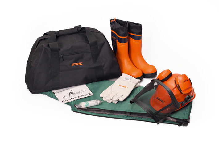 d65e1d8436b PPE kits with rubber chainsaw boots. STIHL personal protective equipment kit