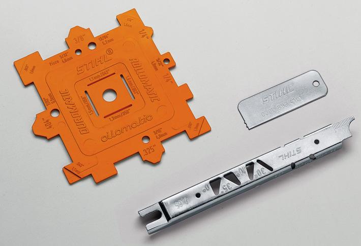 Calibre de controlo de passo, espessura e canal para correntes e guias