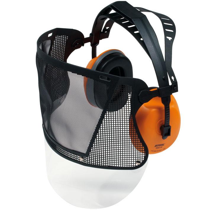 Arc- és hallásvédő pánt műanyag ráccsal