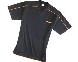 Черна тениска STIHL, с остро деколте