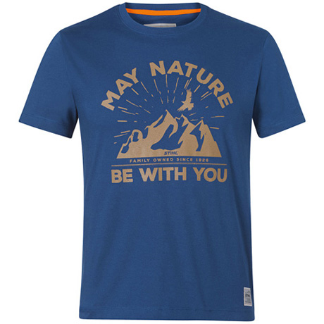 "T-Shirt ""MAY NATURE"", bleu"
