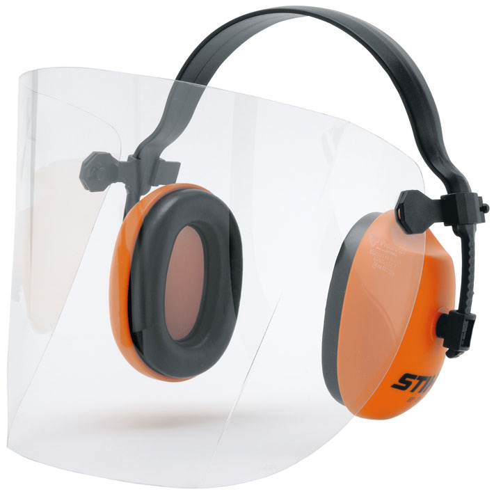 Face/ear protection with plastic visor