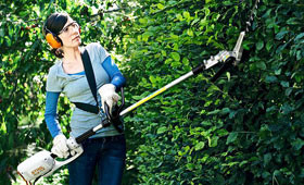 Electric long-reach hedge trimmer