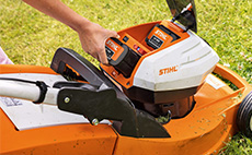 Cordless lawn mowers for domestic use