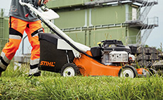 Petrol lawn mowers for professional use