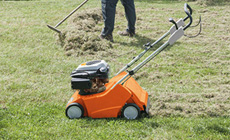 Lawn scarifier for removing lawn thatch and moss
