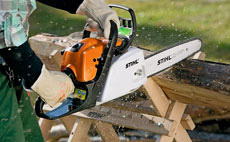 Petrol chainsaws for cutting firewood and grounds maintenance